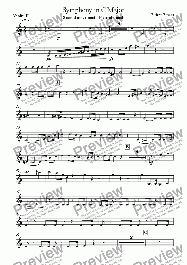 page one of the Violin II part from Symphony in C Major (Movement 2)