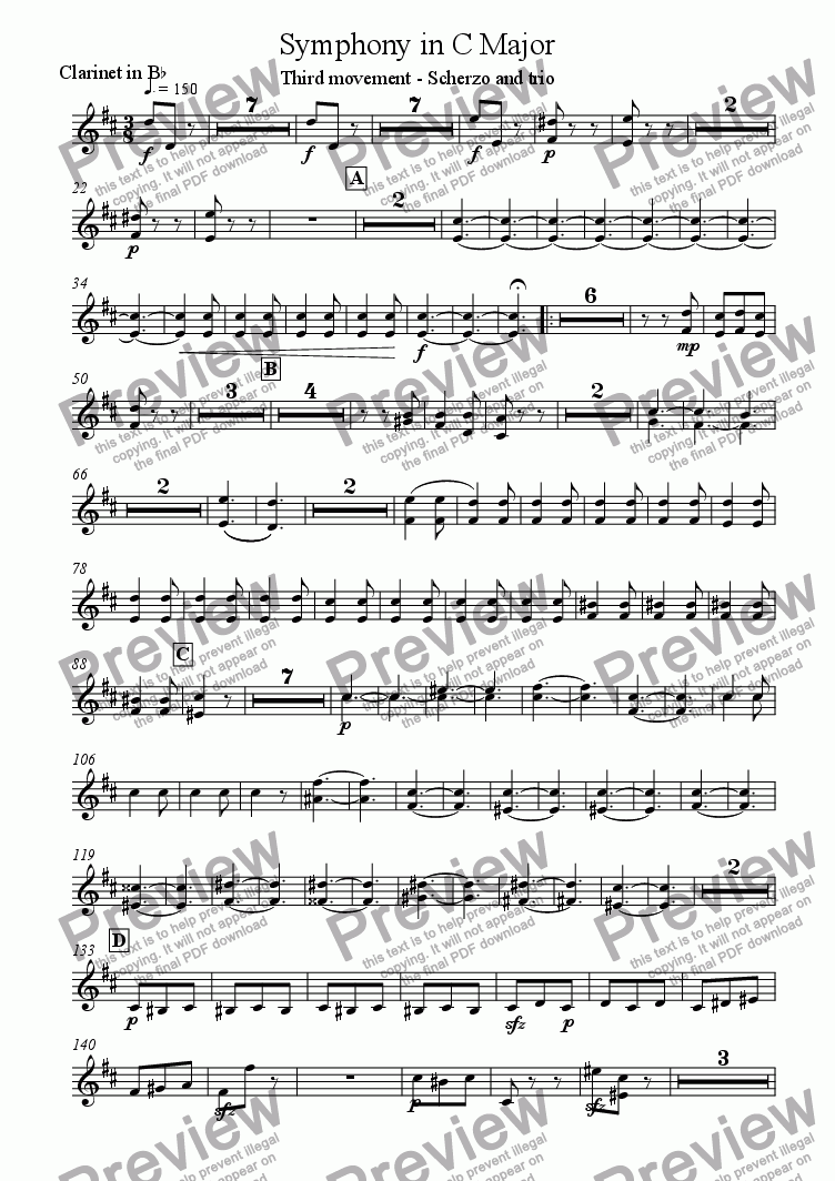 page one of the Clarinet in Bb part from Symphony in C Major (Movement 3)