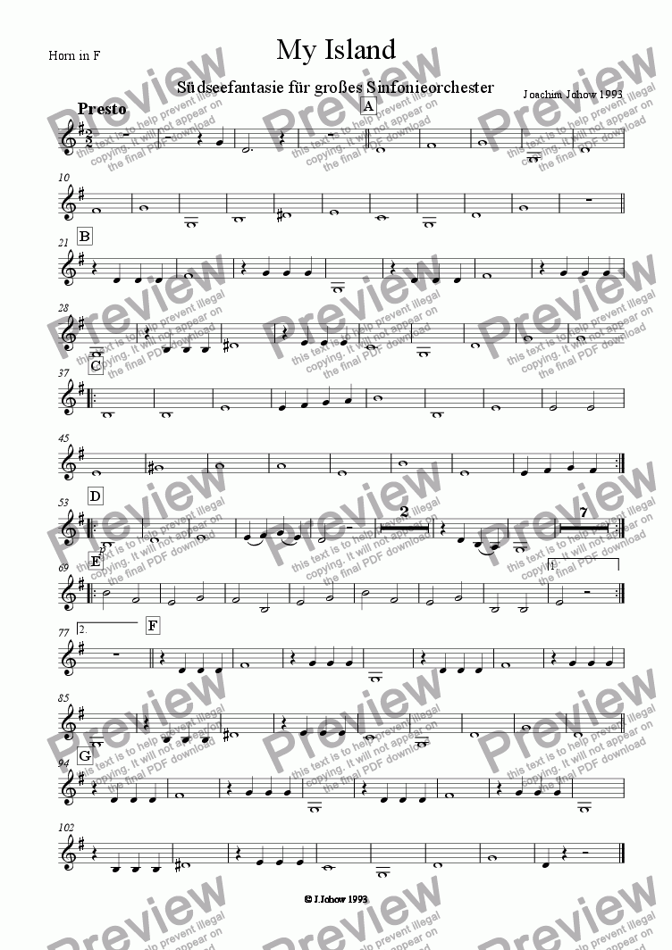 page one of the Hr F part from My Island (Orchestra)