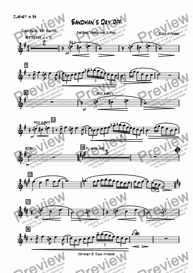 page one of the Bb Clarinet part from Sandman´s Day Off (Ob./Hn./Pno)