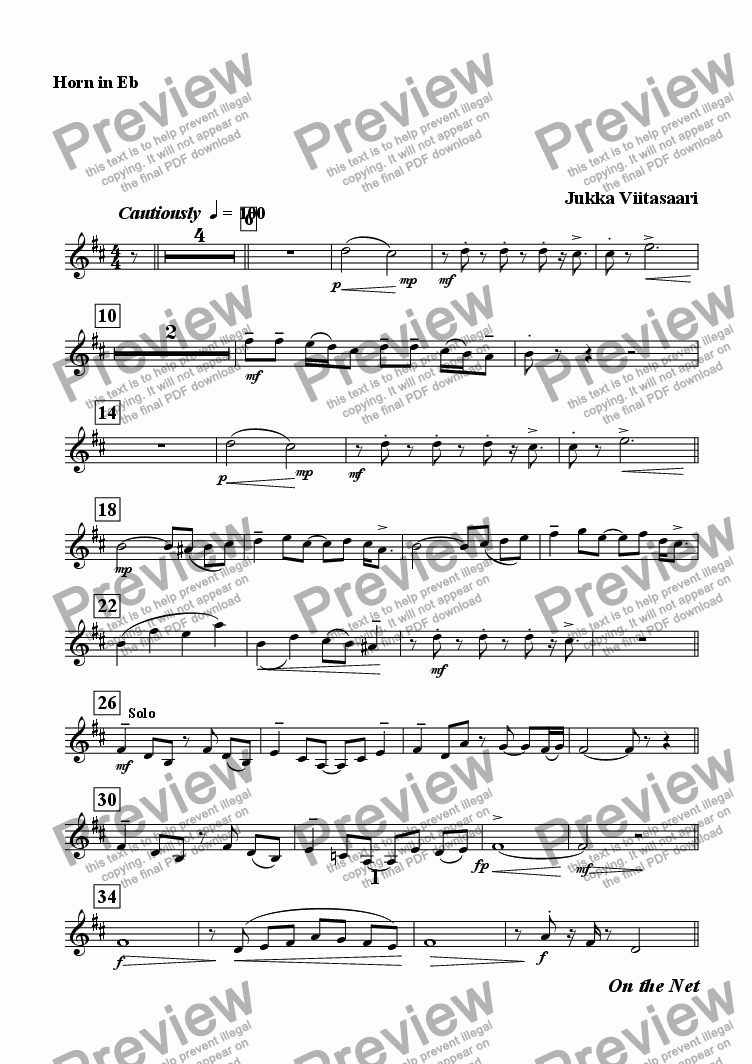 page one of the Eb Horn part from On the Net (Ob./Hn./Pno)