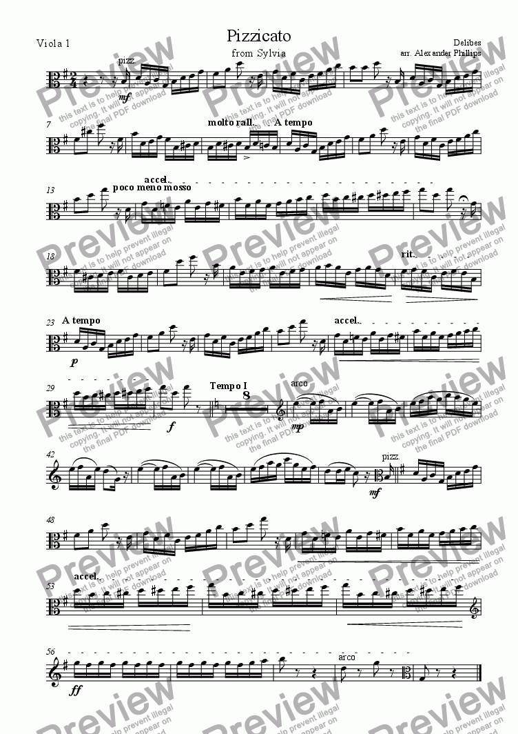 page one of the Viola 1 part from Pizzicato from Sylvia (Viola Sextet)