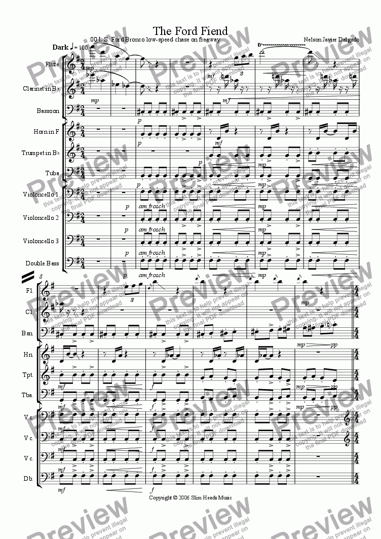 page one of the Clarinet part from Ford Fiend, The