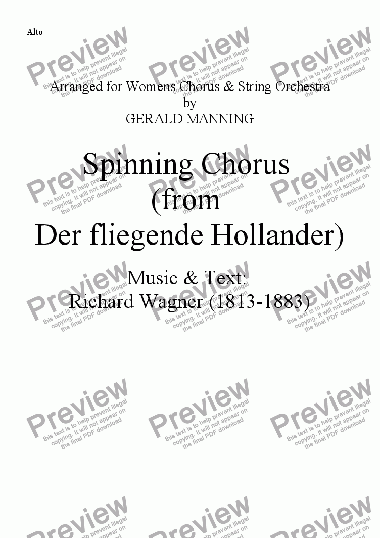page one of the Alto part from Come To The Opera - Wagner, R.- Spinning Chorus (from Der fliegende Hollander) - arr, for Female Chorus & String Orchestra by Gerald Manning