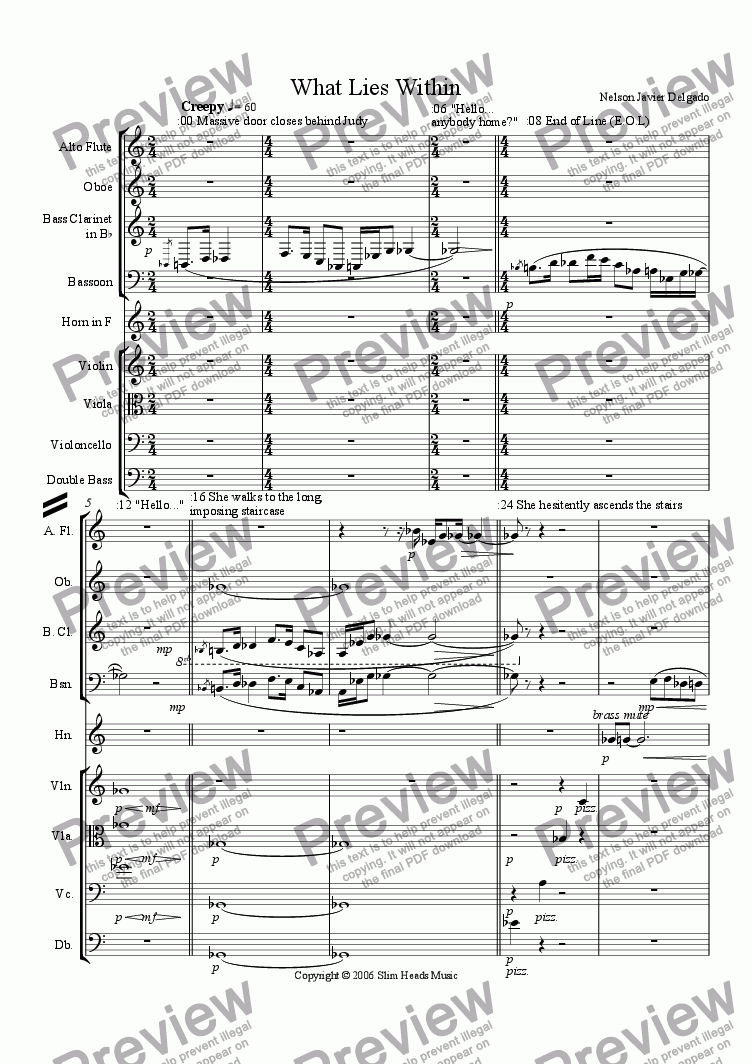 page one of the Double Bass part from What Lies Within