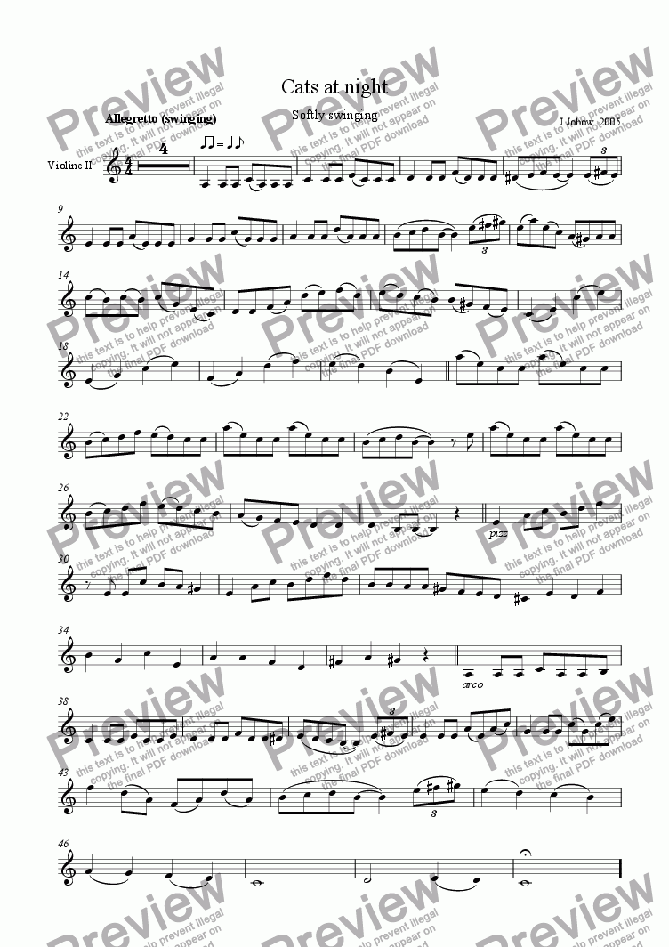 page one of the 2.Vl part from Cats at night (orchestra)