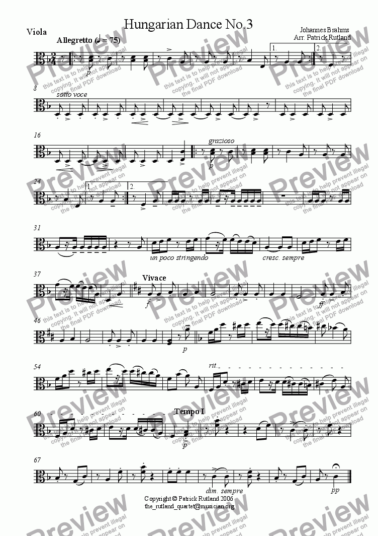 page one of the Viola part from Brahms Hungarian Dance No. 3