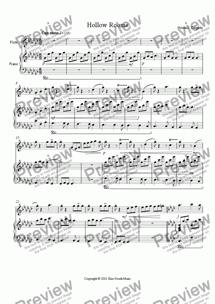 page one of the Piano part from Hollow Rooms