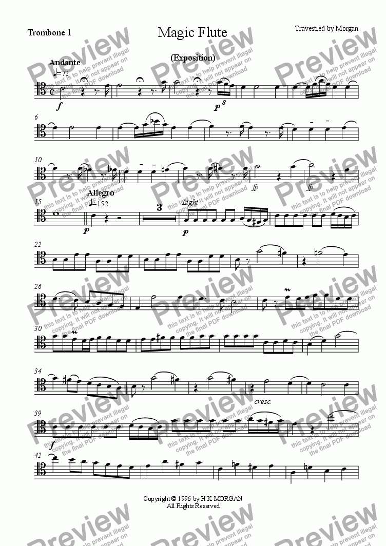 page one of the Trombone 1 part from Magic Flute Overture