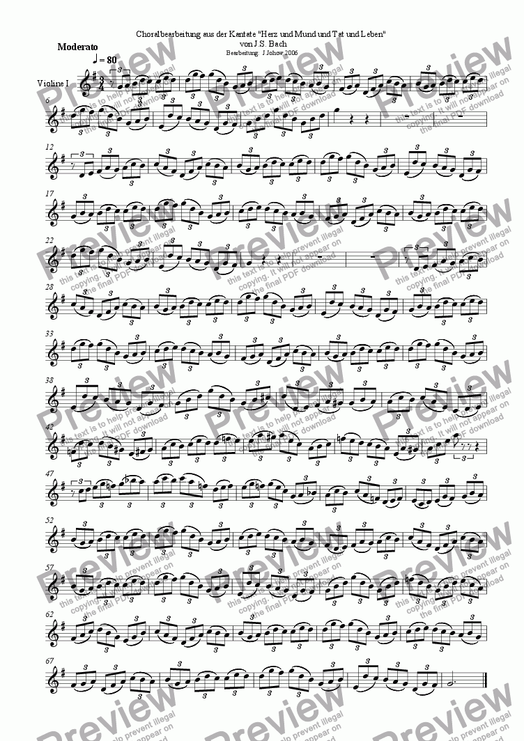 page one of the 1. Vl part from Choral treatment Herz und Mund (Bach)