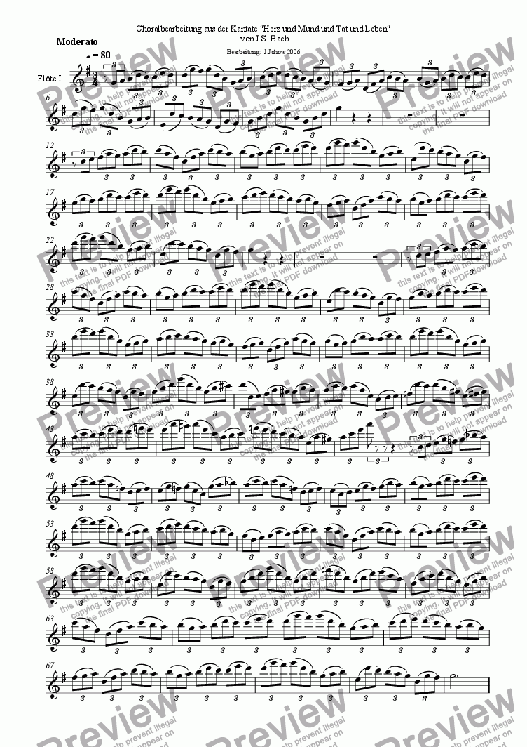page one of the 1.Fl part from Choral treatment Herz und Mund (Bach)