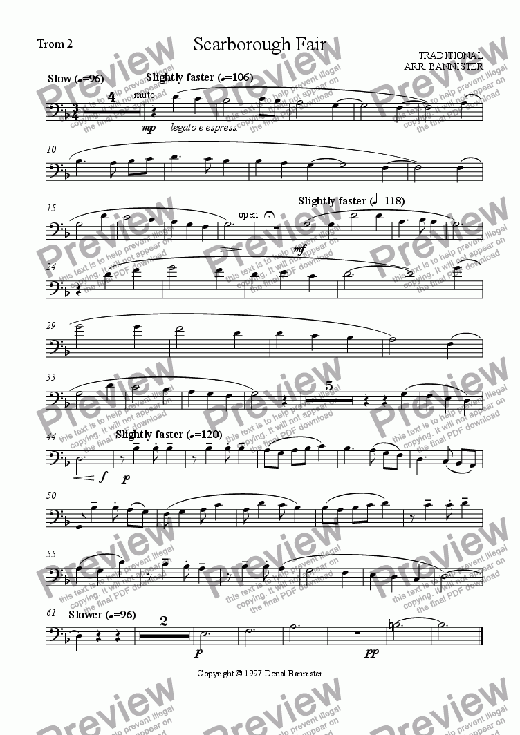 page one of the Trombone 2 part from Scarborough Fair