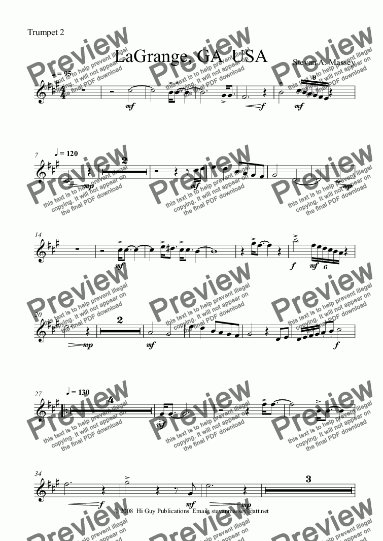 page one of the Trumpet 2 part from La Grange, GA USA  (brass quintet)