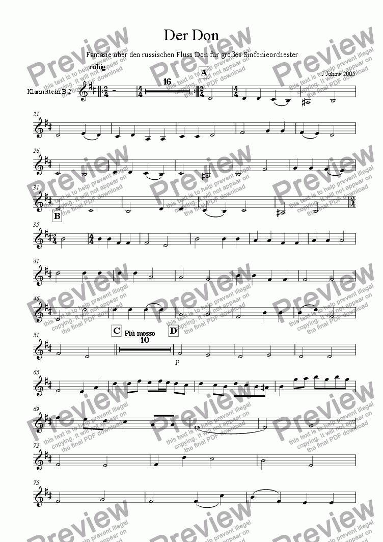 page one of the 2..Cl B part from Der Don (Russische Fantasie f�r Orchester)