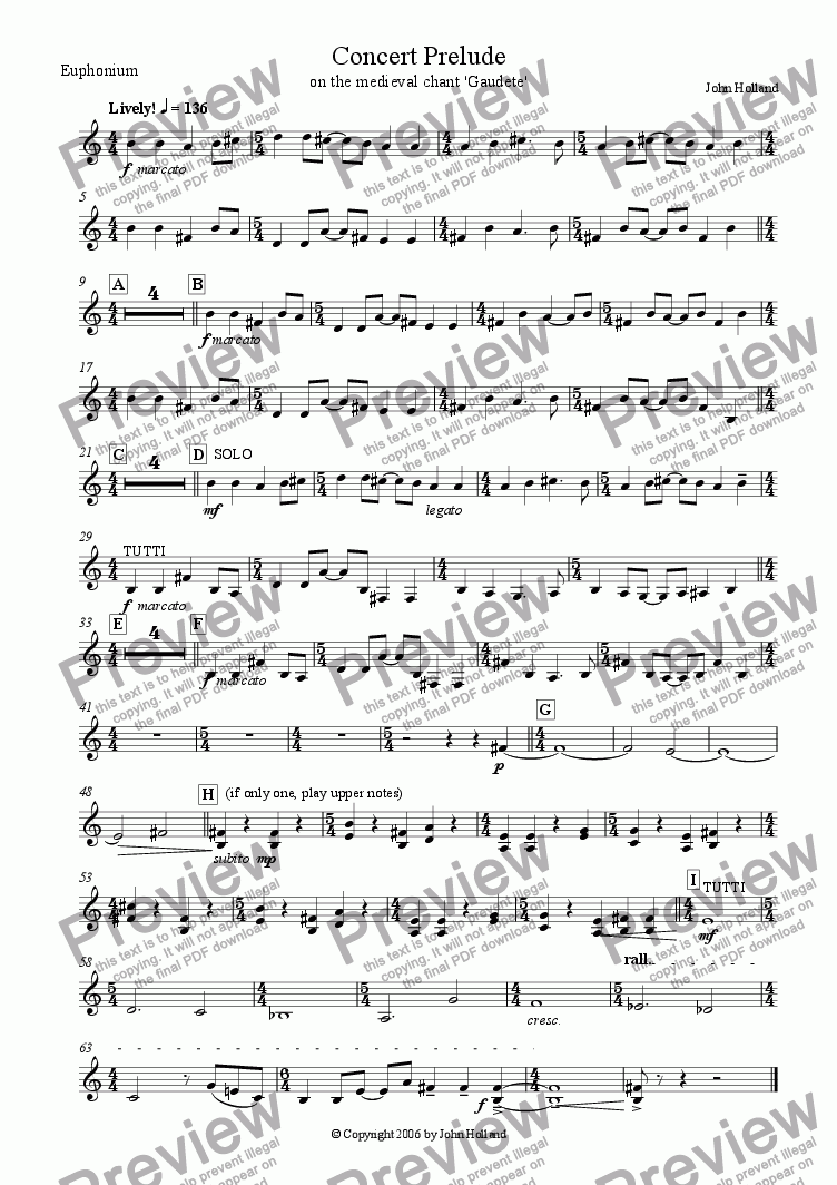 page one of the Euphonium (TC) part from Concert Prelude (Based on the medieval chant 'Gaudete')