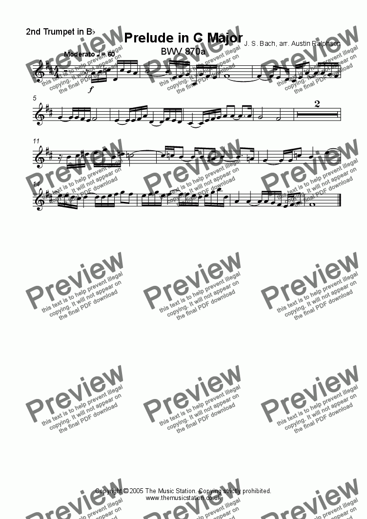 page one of the Trumpet 2 part from Prelude in C major, BWV 870a - brass quintet