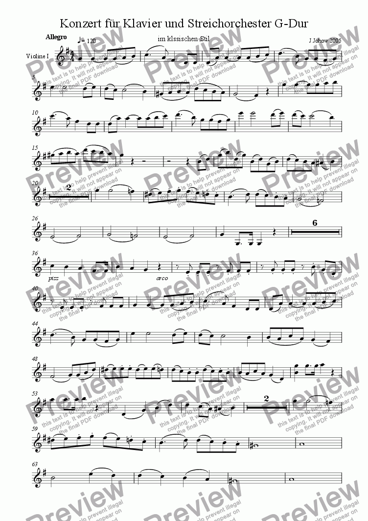 page one of the 1.Vl part from Piano Concert G-Major 1.Allegro  Strings