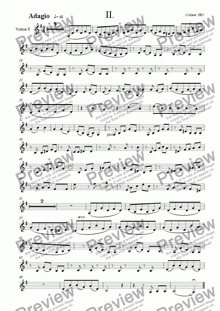 page one of the 2. Vl part from Piano Concert G-Major 2. Adagio Strings
