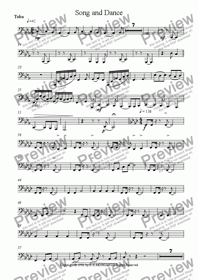 page one of the Tuba part from Song and Dance (ten piece brass ensemble)