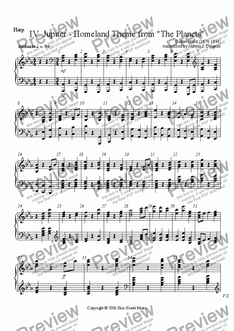 "page one of the Harp part from Jupiter 4th Movement from Holst's ""The Planets"" (Homeland Theme)"