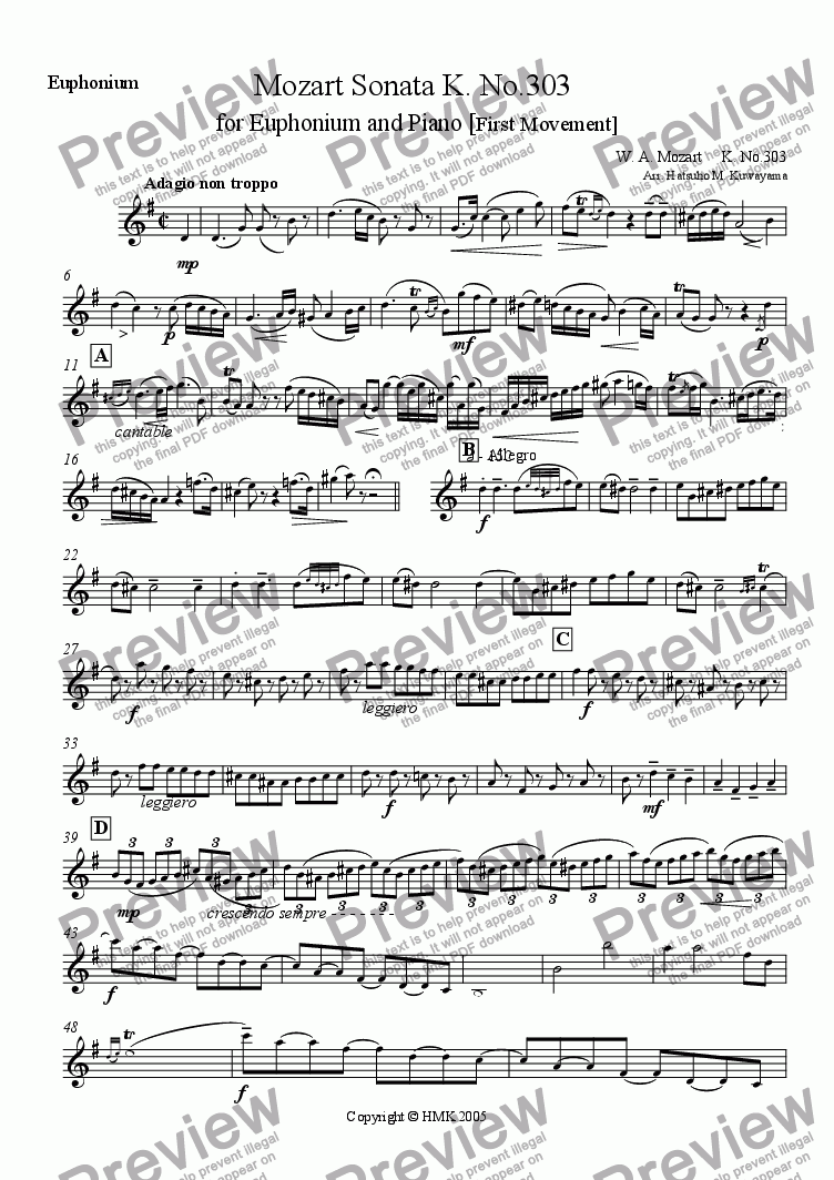 page one of the Euphonium part from Mozart Sonata K. 303 for Euphonium and Piano