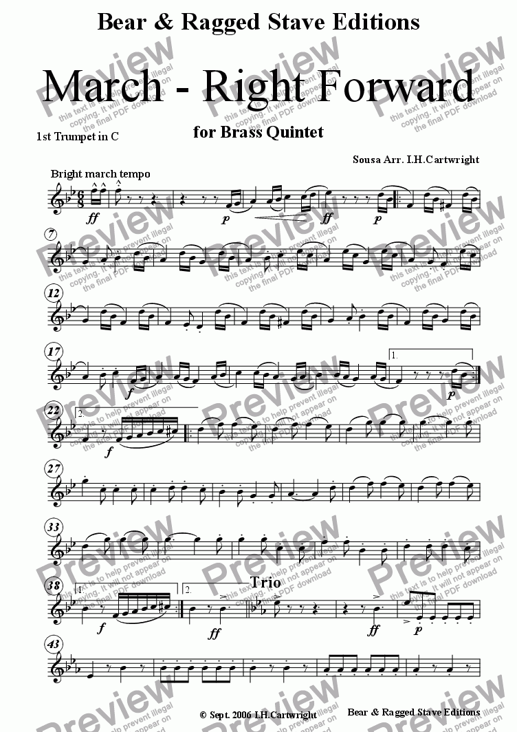 page one of the 1st trumpet C part from March - Right Forward for brass quintet