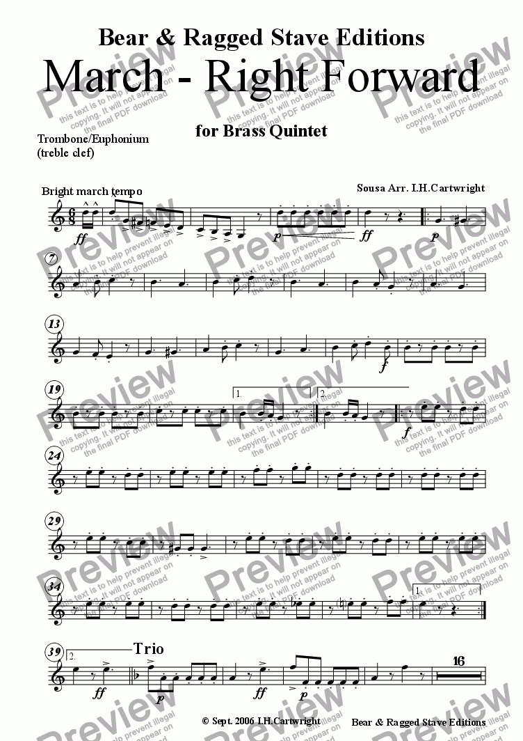 page one of the Trombone/Euphonium (treble clef) part from March - Right Forward for brass quintet
