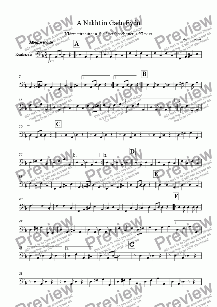 page one of the Bass part from A Nakht in Gadn Eydn (Strings and piano)
