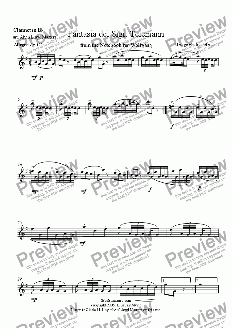 page one of the Clarinet part from Fantasia del Sigr. Telemann