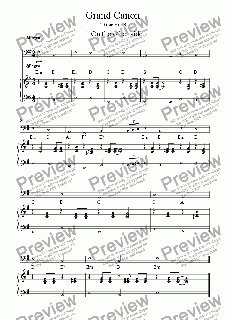 page one of the Piano Bass part from Grand Canon 01 On the other side