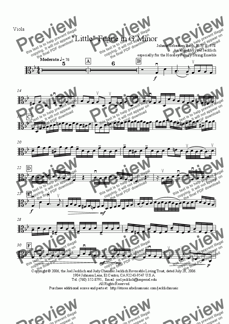 page one of the Viola part from Little Fugue in G Minor, BWV 578