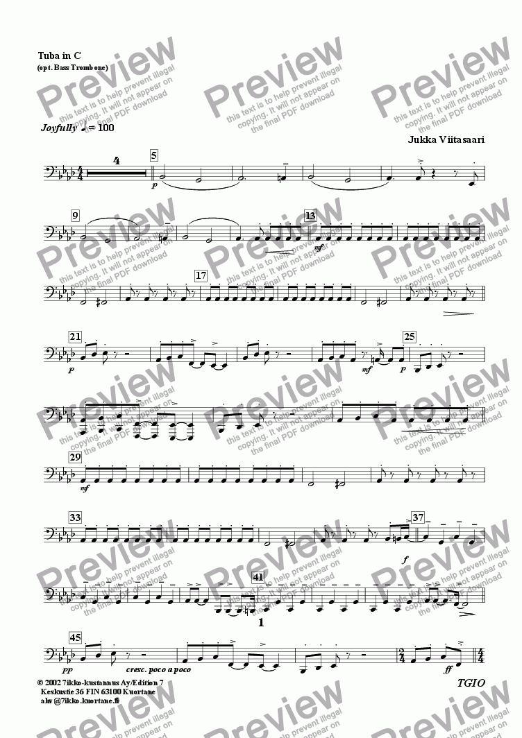 page one of the Tuba in C part from The Gate is open! (brass quintet)