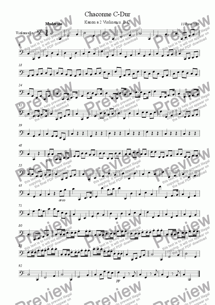 page one of the Vlc part from Chaconne C-Major