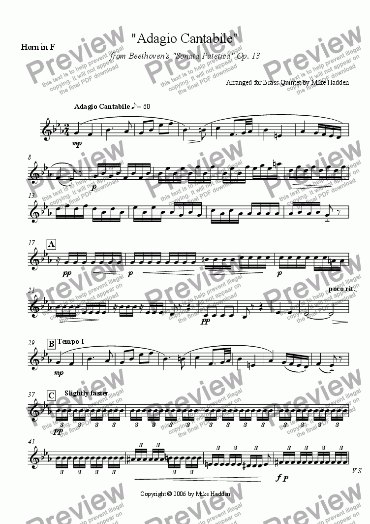 page one of the Horn in F part from Adagio Cantabile