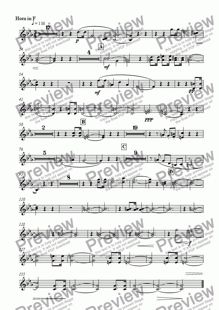 page one of the Horn in F part from Galapagos