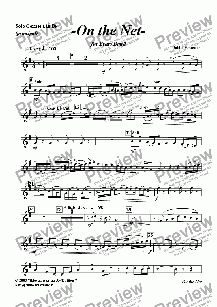 page one of the Solo Cornet 1 Bb part from On the Net (brass band)