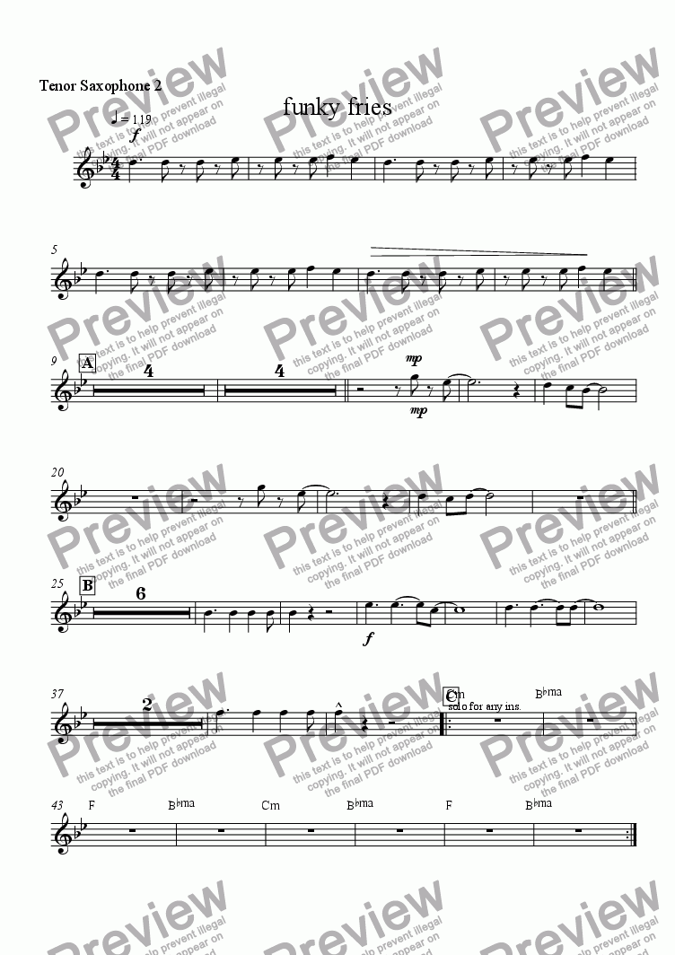 page one of the tenor 2 part from funky fries