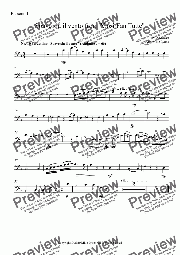 "page one of the Bassoon 1 part from Wind Choir - Soave sia il vento from ""Cosi Fan Tutte"""