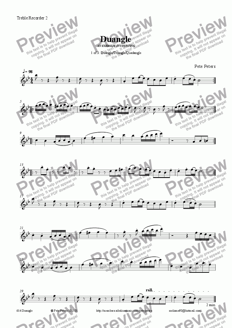 page one of the Treble 2 part from Duangle DUET (1 of 3 pieces as on mp3) [Triangle/Quadangle] recorder q.v.