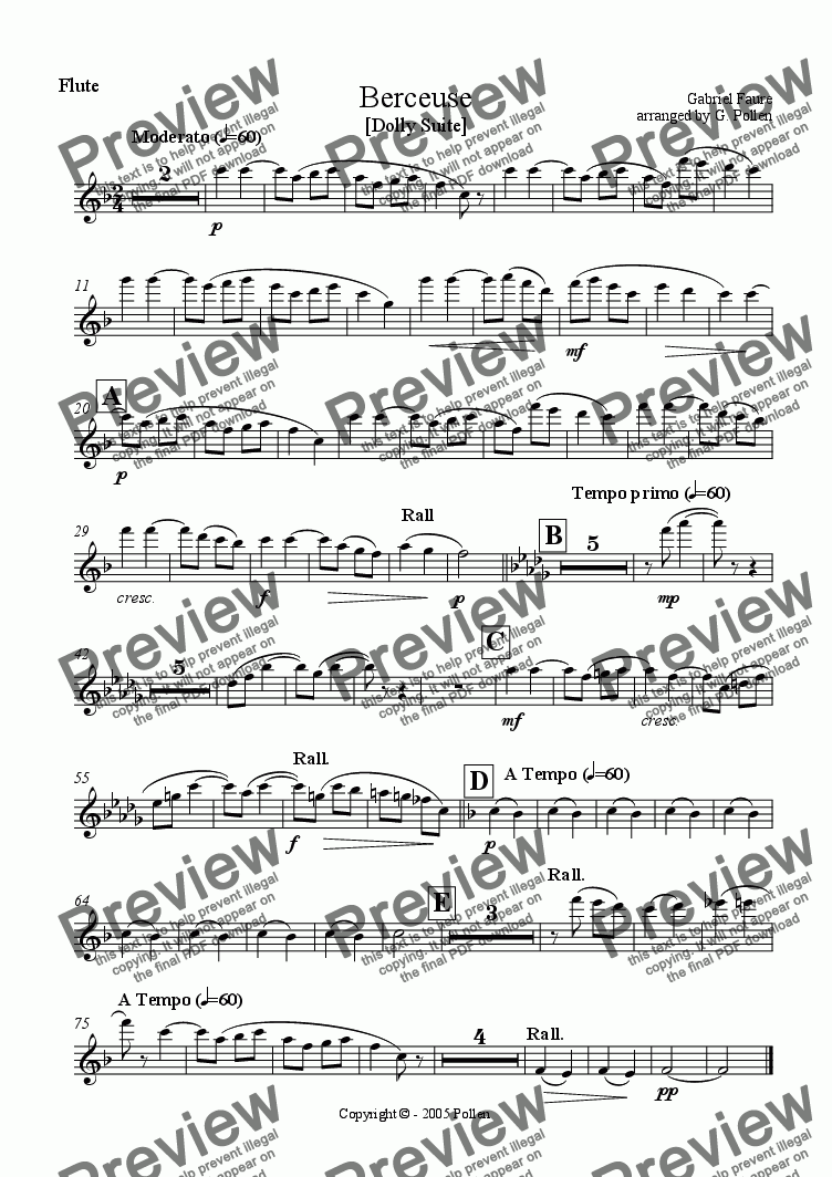 page one of the Flute part from Berceuse [Dolly Suite] (ME)