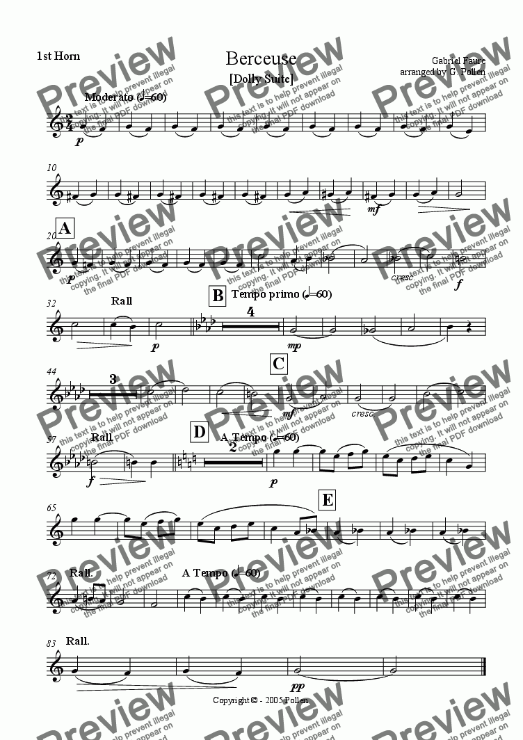 page one of the 1st Horn in F part from Berceuse [Dolly Suite] (ME)