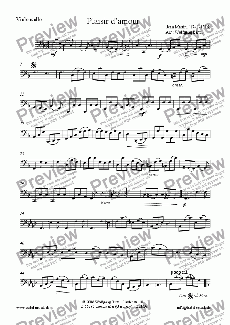 page one of the Violoncello part from Plaisir d'amour (2 Vl + Vc)