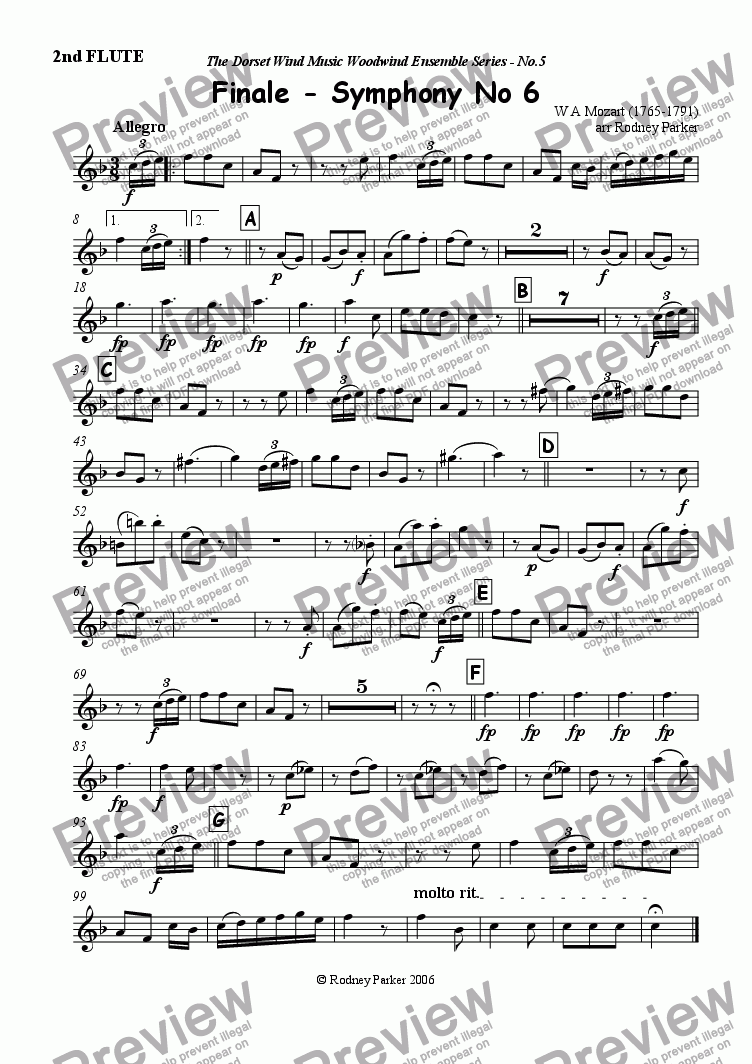 page one of the 2nd Flute part from Finale - Symphony No6 - Mozart arr for Woodwind Ensemble