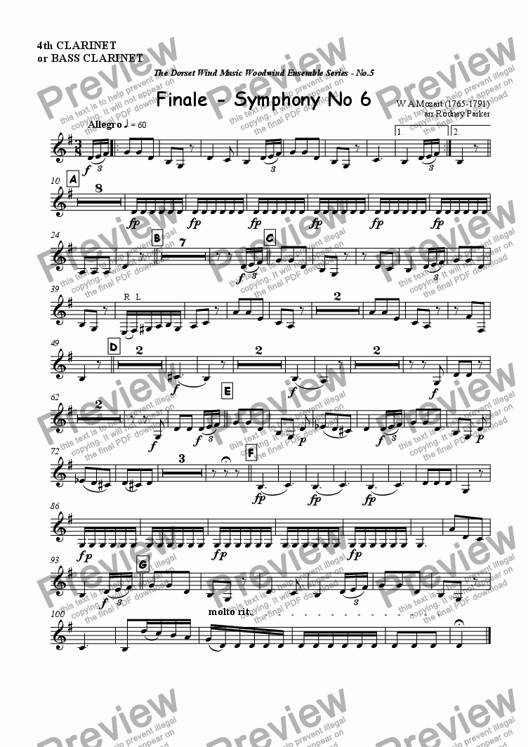 page one of the 4thClarinet or Bass Clarinet part from Finale - Symphony No6 - Mozart arr for Woodwind Ensemble