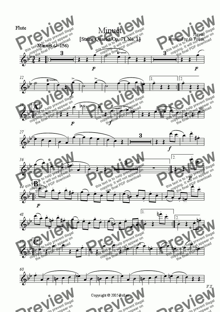 page one of the Flute part from Minuet [Quartet No. 1. Op. 71] (ME)