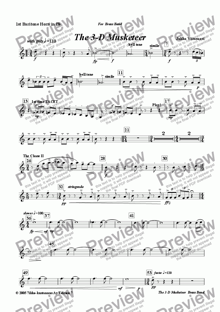 page one of the 1st Baritone Horn in Bb part from The 3-D Musketeer (brass band)