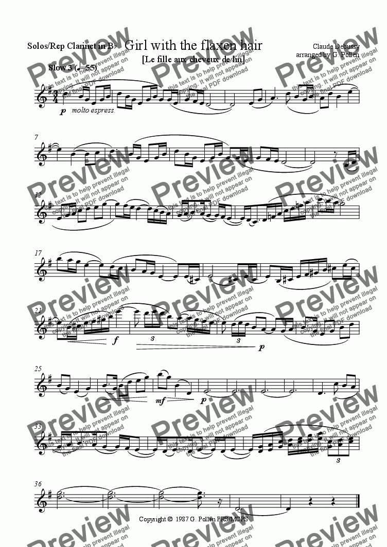 page one of the Solo/Rep Clarinet part from La fille aux cheveux de lin (Girl with the flaxen hair) (CB)