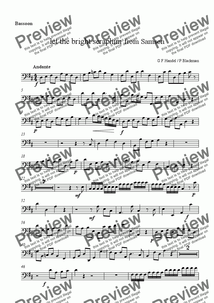 page one of the bassoon part from Let the bright seraphim (double reeds)
