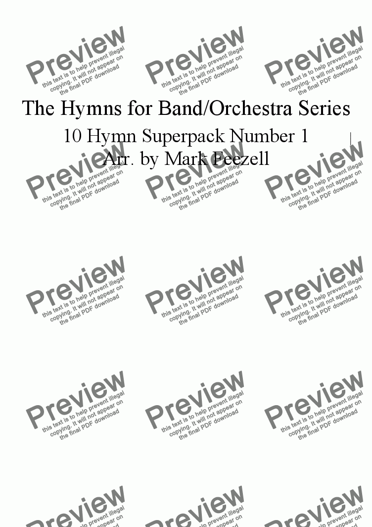 page one of the Bb Clarinet 1/2 (soprano/alto lines) part from Hymns for Band/Orchestra: 10 Hymn SUPERPACK number 1, flexible arrangement