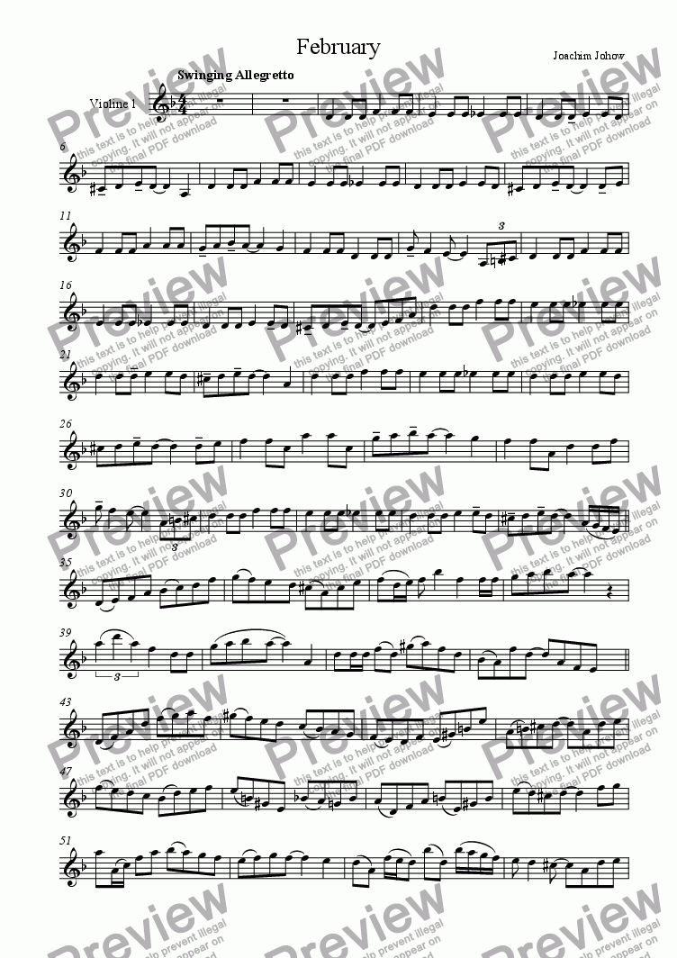 page one of the 1. Vl part from February (Strings and Piano)